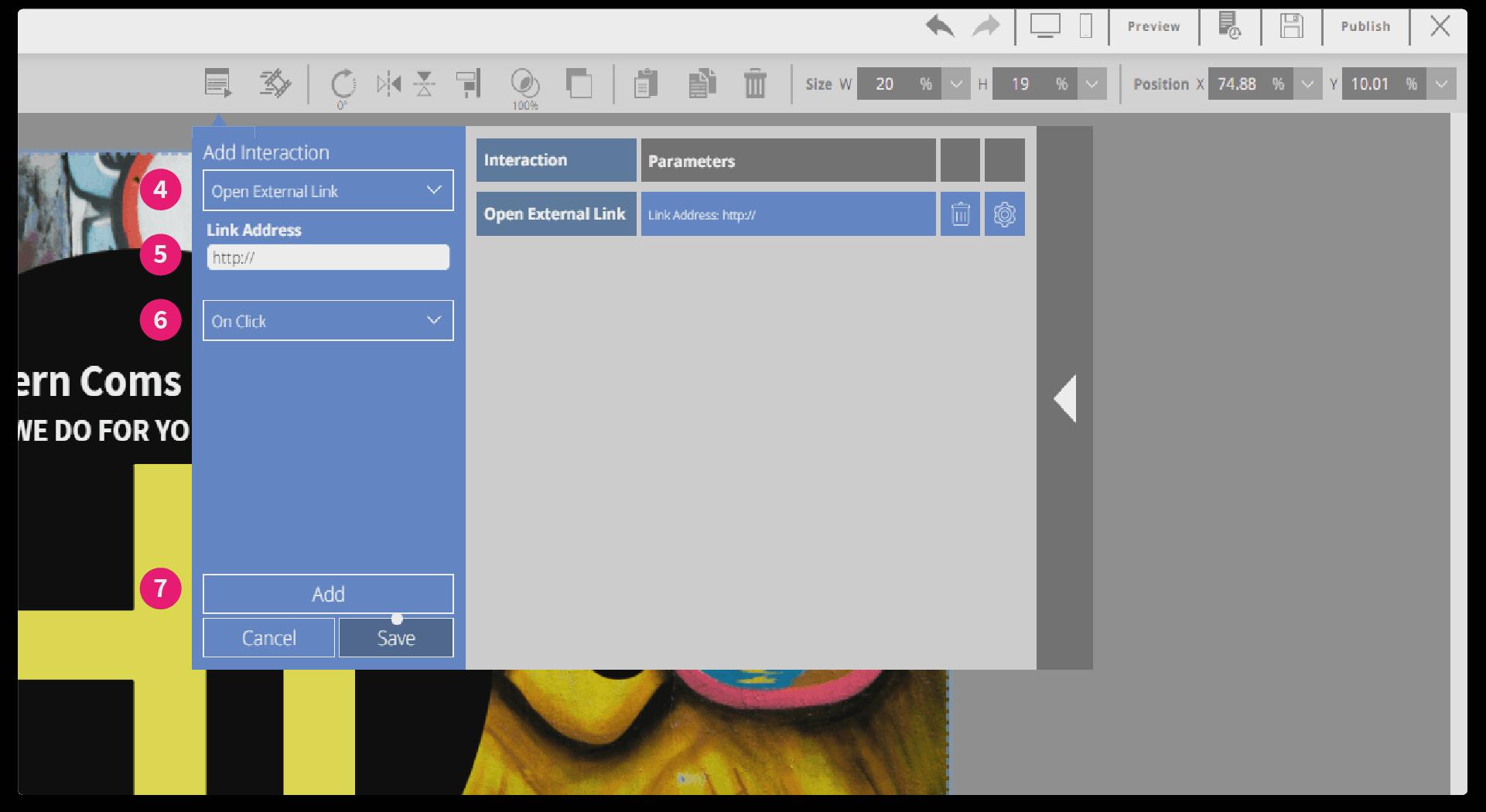screenshot of button interaction window
